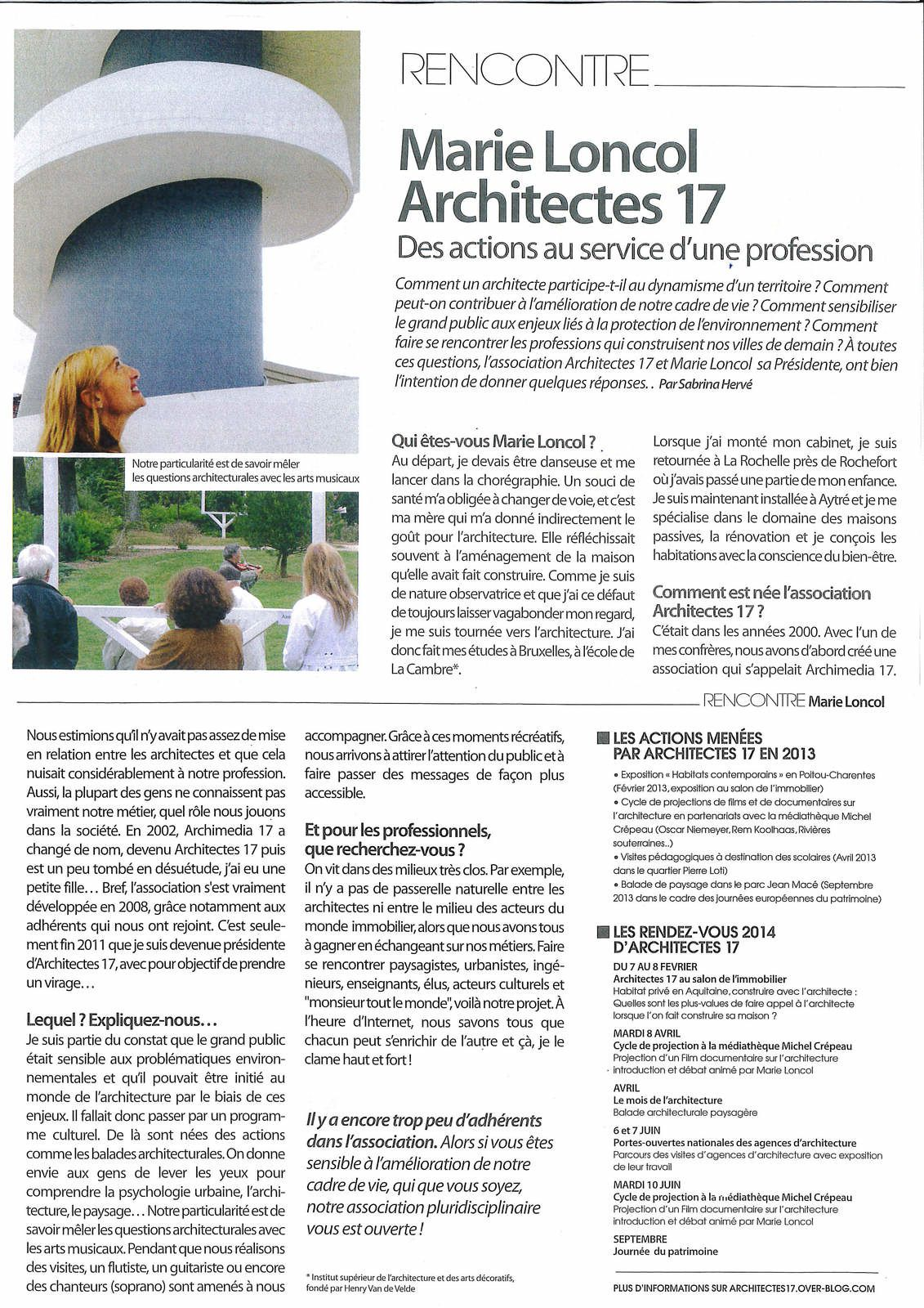 interview dans le ptit rochelais fevrier 2014 architectes 17. Black Bedroom Furniture Sets. Home Design Ideas