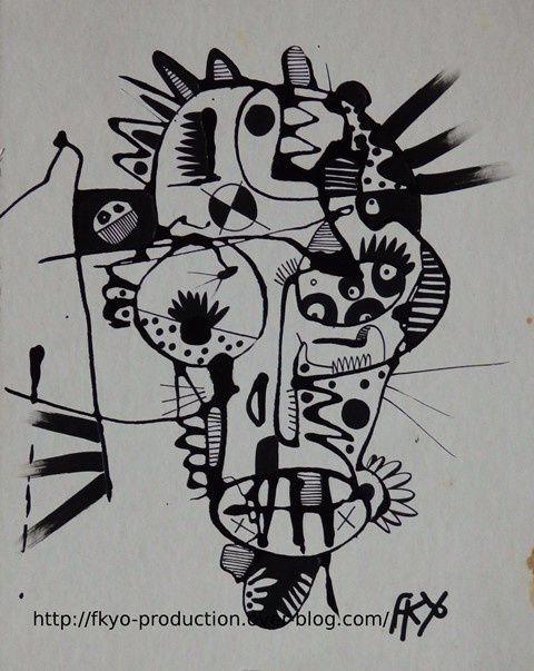 Happy Head, acrylique sur papier carton, 10/11/2014, fkyo