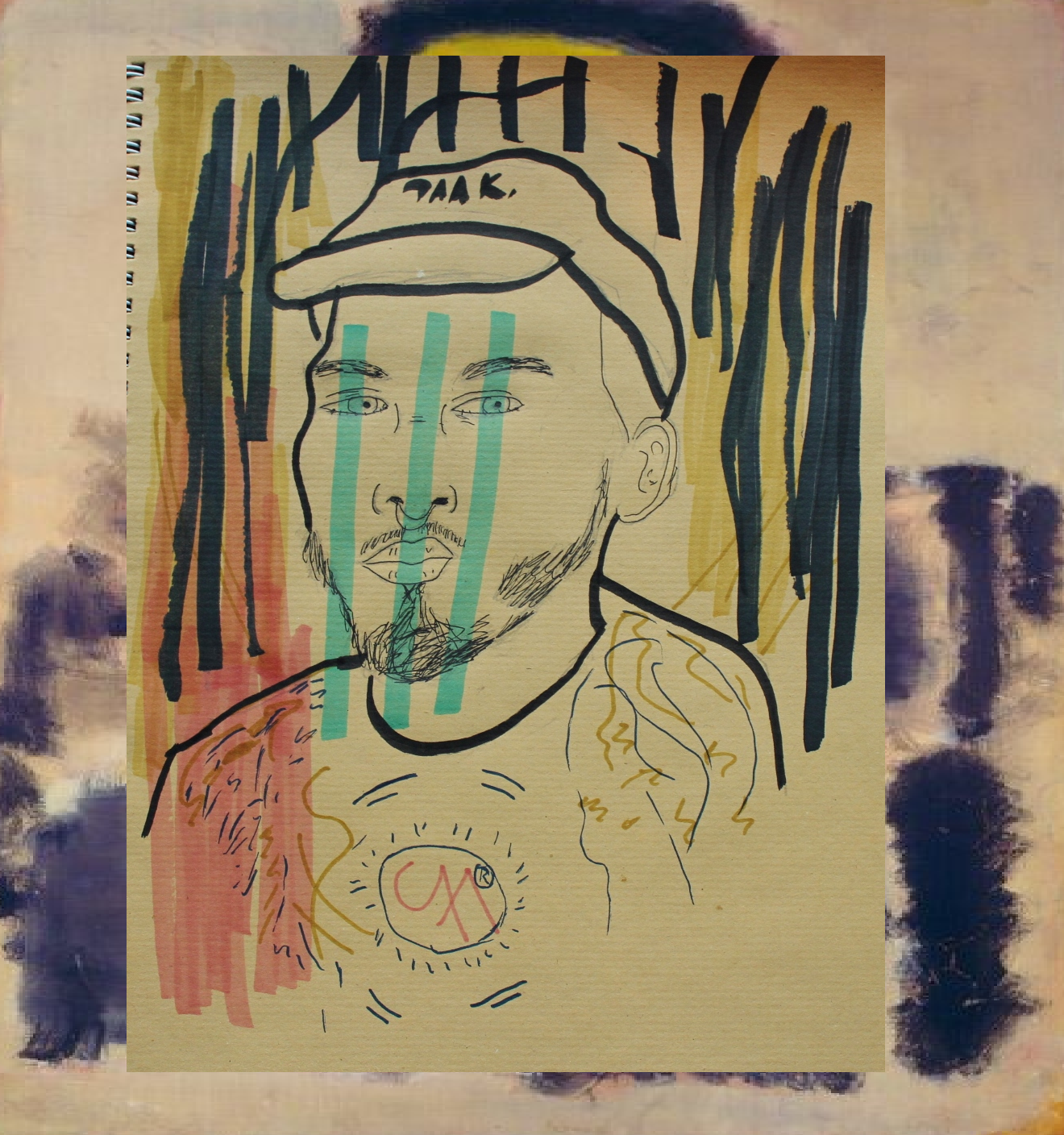 Above my original portrait, below, a collage I did on a Rothko paiting