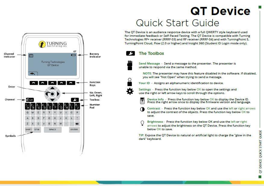 Quick start guide boitier de reponse QT Turning Technologies