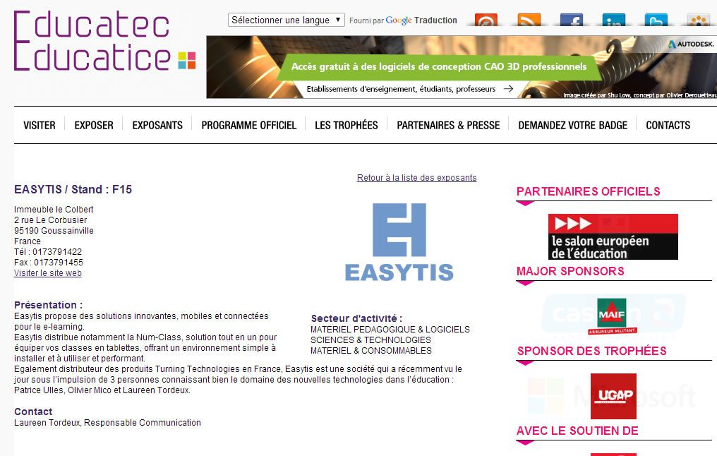 Turning technologies sera présent sur le salon Educatice 2014