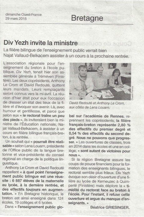 Div Yezh Breizh souhaite inviter la ministre de l'Education nationale