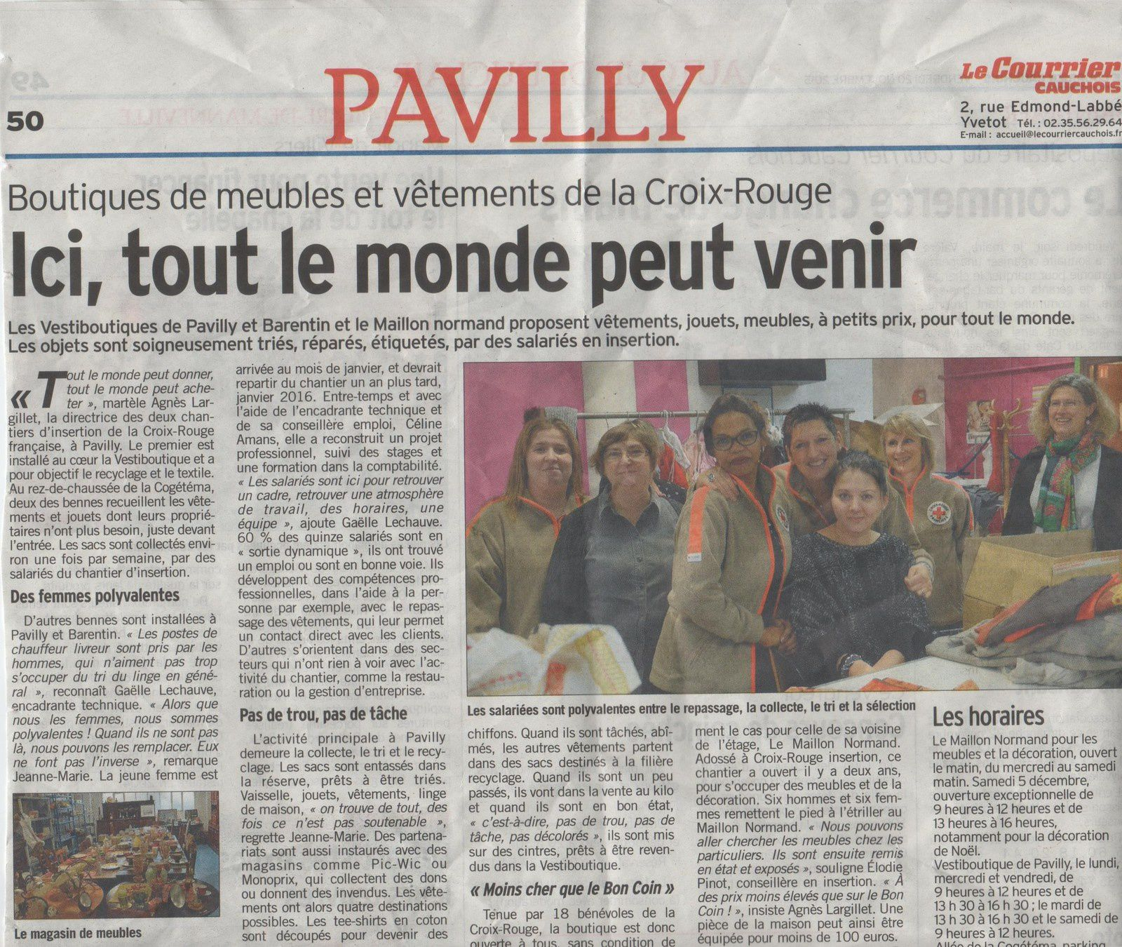 article du Courrier Cauchoix du 20/11/15