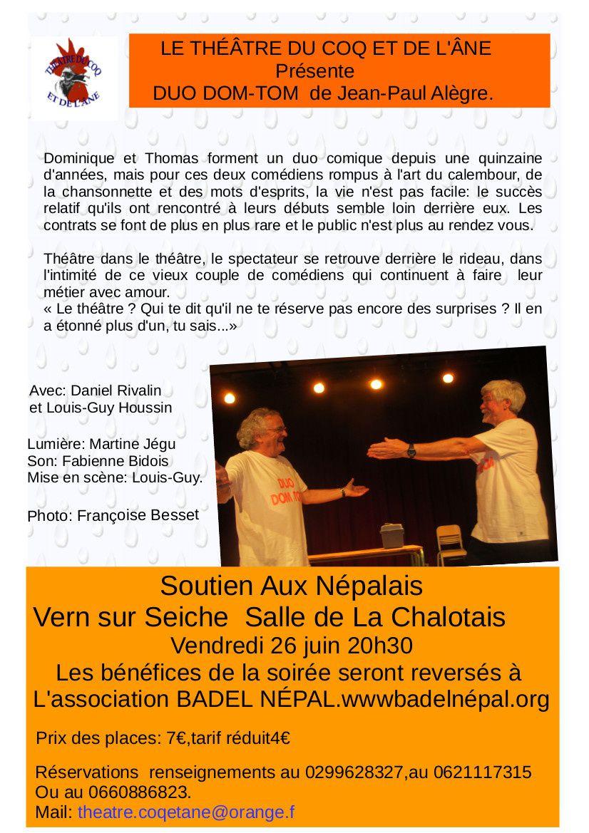 Duo DOM TOM le 26 JUIN à 20h30 salle de la Chalotais à Vern