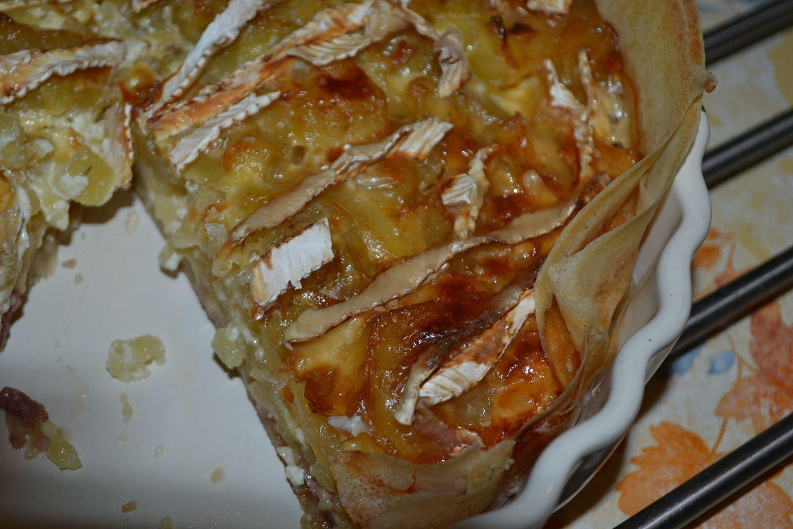 Tarte croustillante aux pomme de terre et camembert