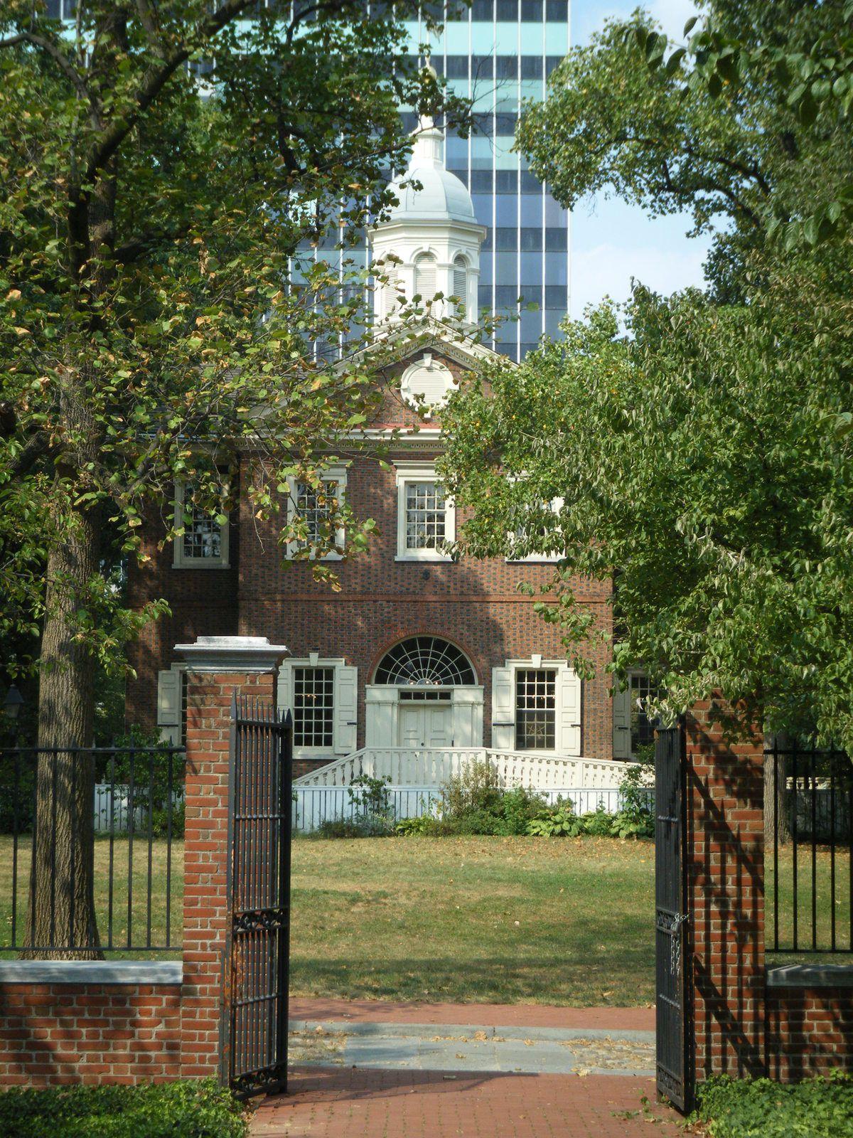 Philadelphie, Old City, nouveaux buildings vus du Musée,  Statue de Rocky (de nuit)