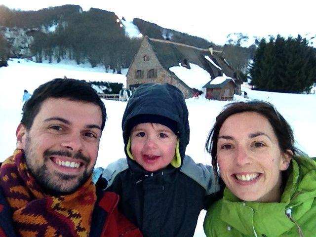 montagne, luge et portraits de famille