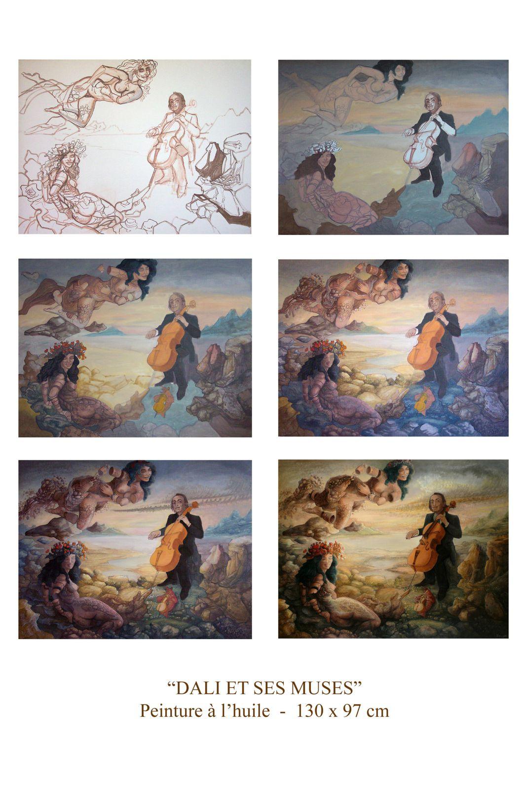 """""""Dali et ses muses"""" - huile sur toile - 130 x 97 cm - 2007"""