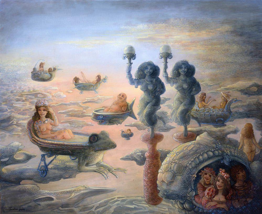 """""""Baigneurs épanouis"""" - huile sur toile - 73 x 60 cm - 2006"""