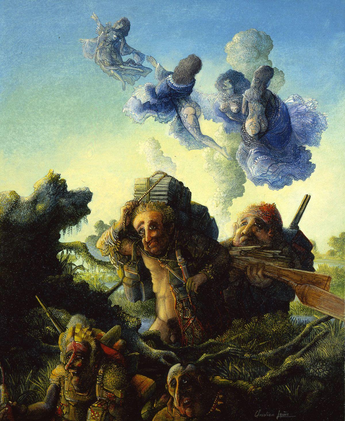 """""""Les méandres du marécage"""" - huile sur toile - 46 x 38 cm - 1992"""