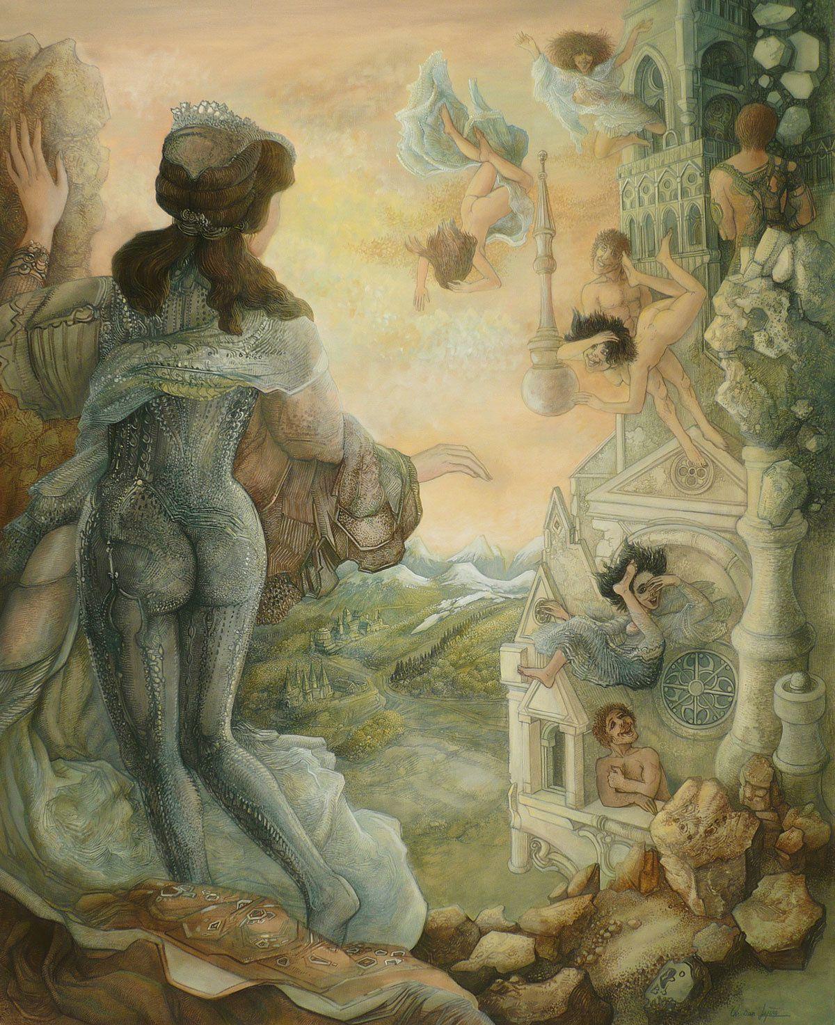 """""""De la plus haute tour"""" - huile sur toile - 100 x 81 cm - 2008"""