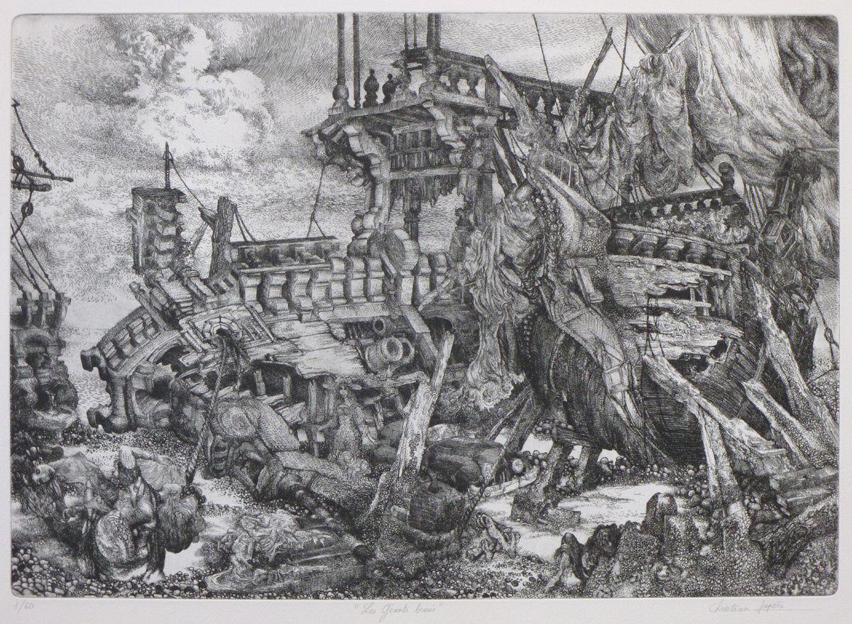 """""""Les géants brisés"""" - Eau-forte imprimée sur Arches format raisin 50 x 65 cm - 1984"""
