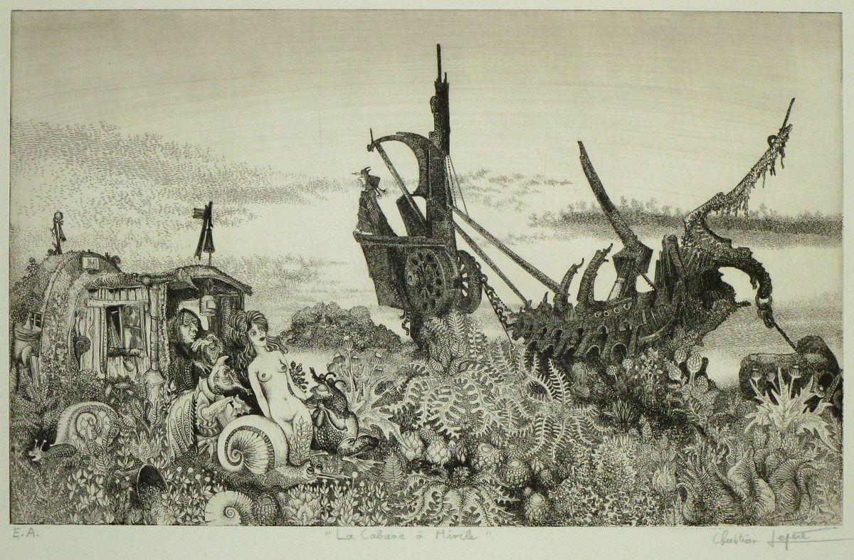 """""""La cabane à Mimile' - eau-forte imprimée sur papier Arches Demi-Jésus - 1973"""