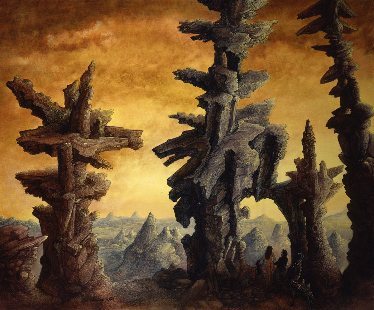 """""""Ruines visitées - huile sur toile - 65 x 54 cm - 2001"""