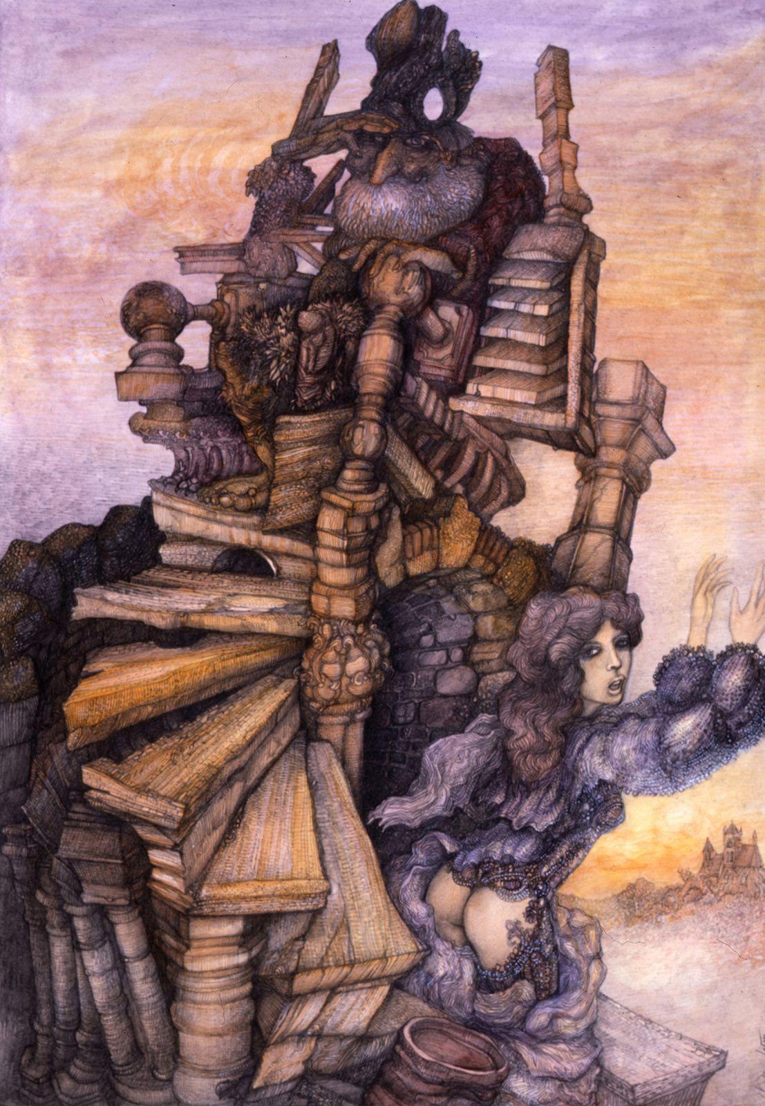 """'L'escalier"""" - dessin aquarellé - 28 x 40 cm - 1986"""