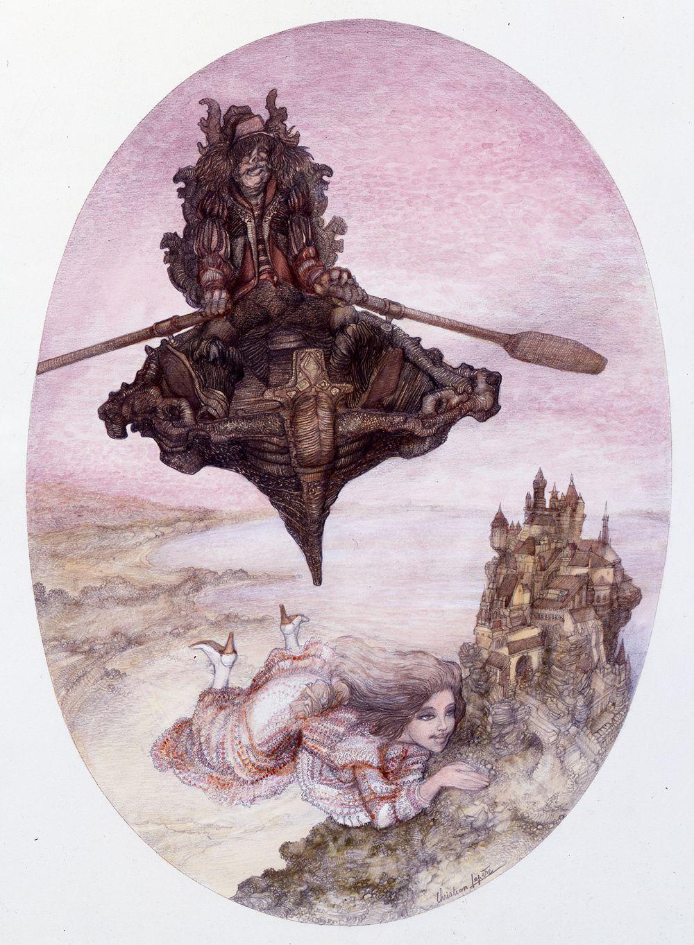 """"""" Le passeur"""" - dessin aquarellé - 28 x 39 cm - 1984"""