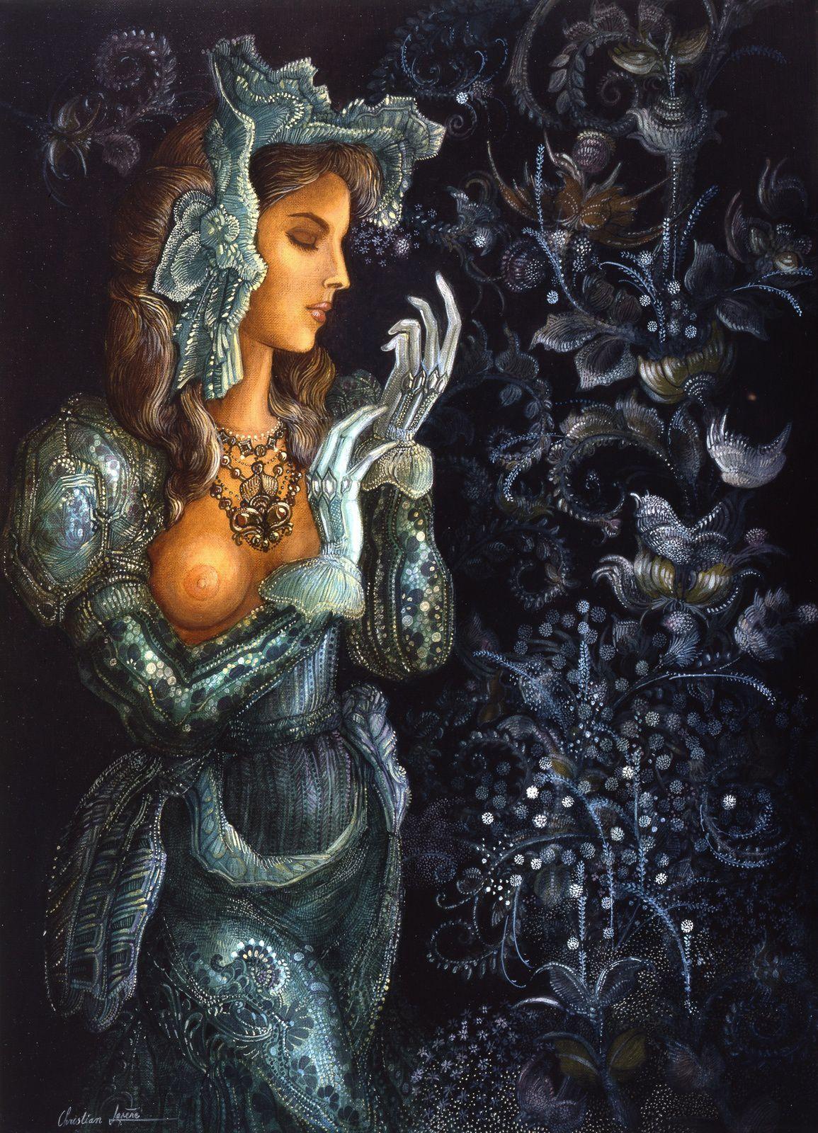 """""""La dame en vert"""" - huile sur toile - 46 x 33 cm - 1986"""