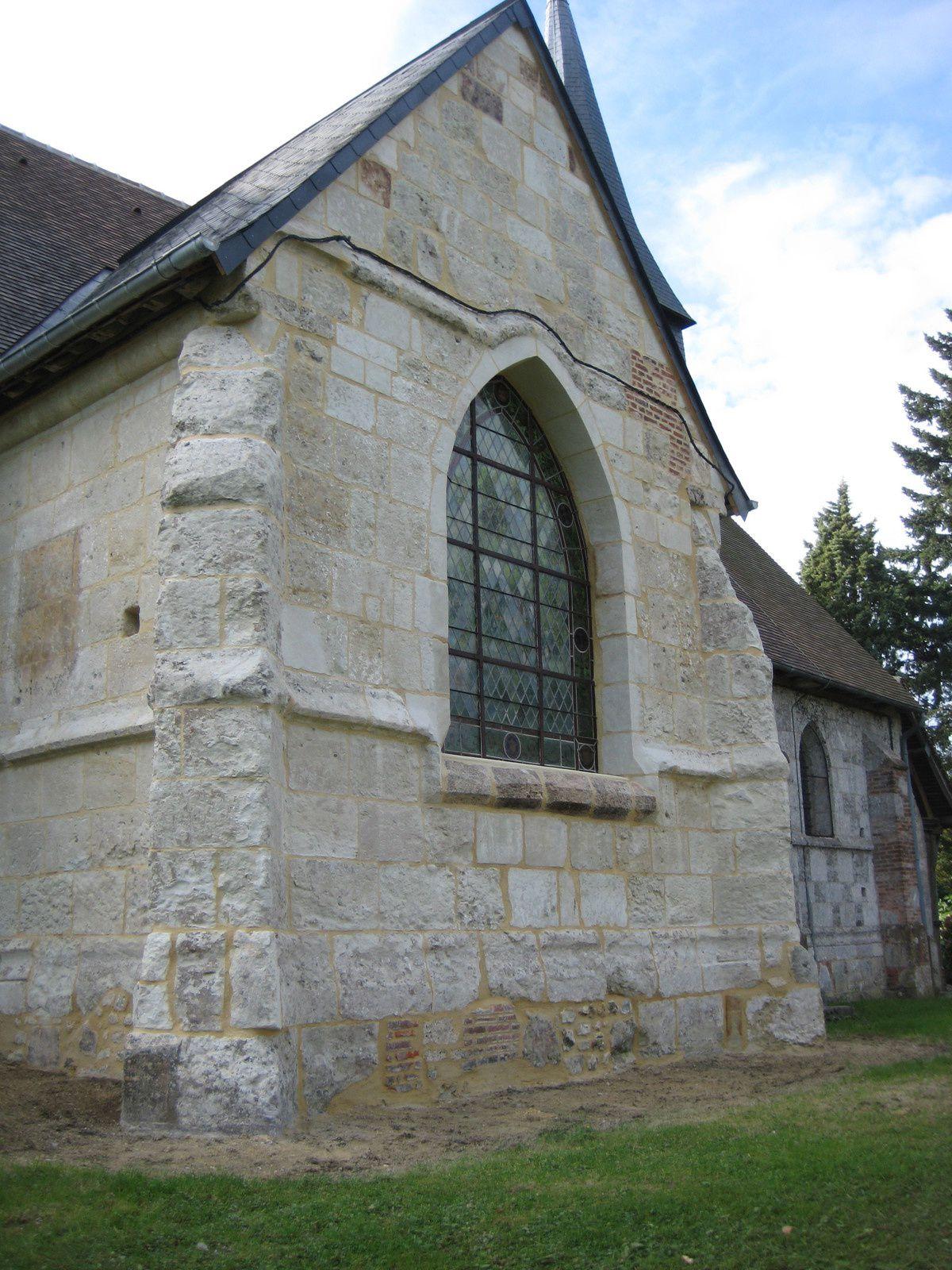 Rénovation maçonnerie chapelle nord.
