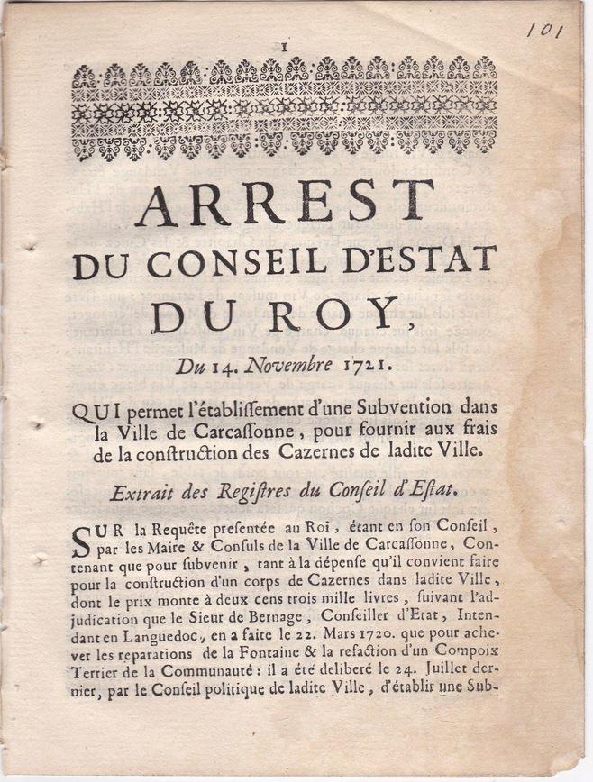 14 novembre 1721: Arrest du Conseil du Roy