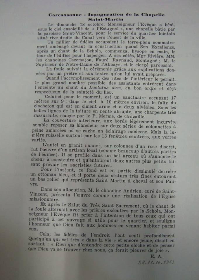 18 octobre 1953: Inauguration de la chapelle St Martin de Carcassonne