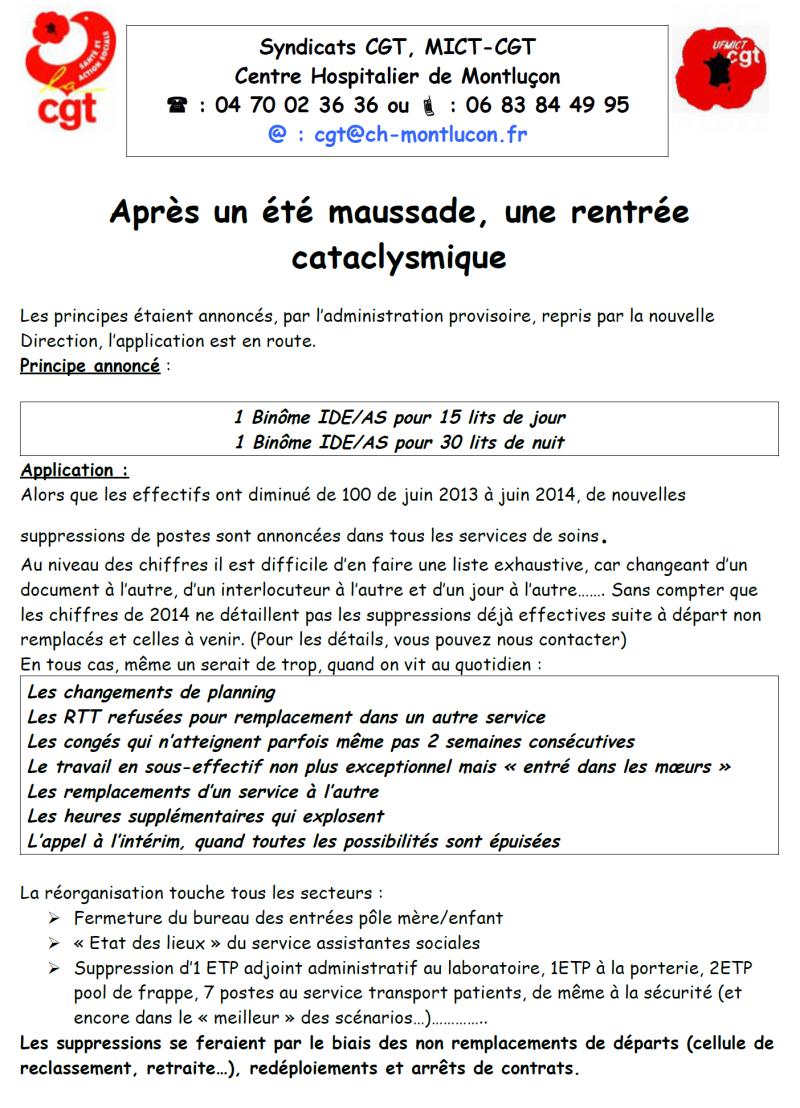 Le tract de la CGT distribué dans les services de l'hôpital de Montluçon dès aujourd'hui