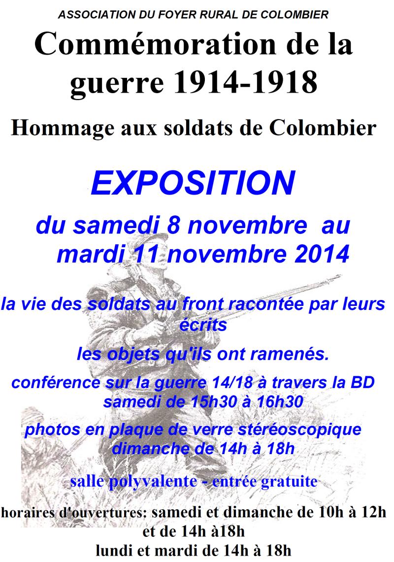 Commémoration 14-18 : exposition à Colombier