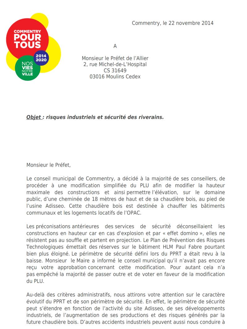 """la lettre adressée au Préfet de l'Allier par les élus de Commentry pour tous"""""""