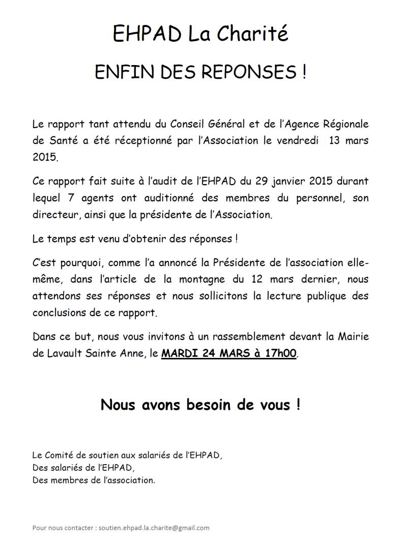 Le tract d'appel au rassemblement deavnt la mairie de lavault St Anne le 24 mars
