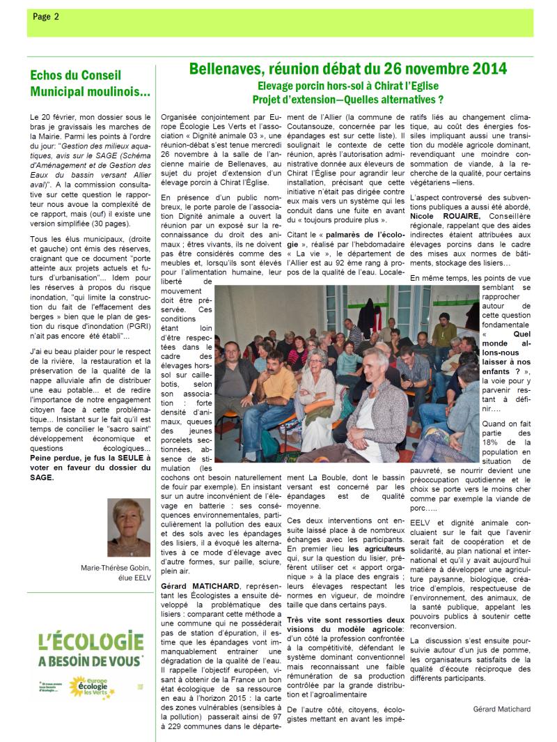 La voix verte, le bulletin d'EELV N°9 de Moulins