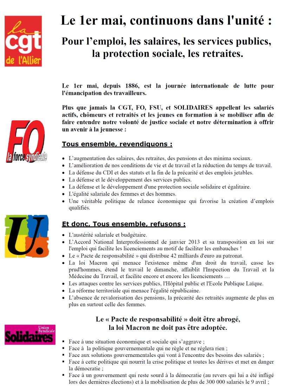 Le tract intersyndical d'appel à manifester sur les trois ville de l'Allier