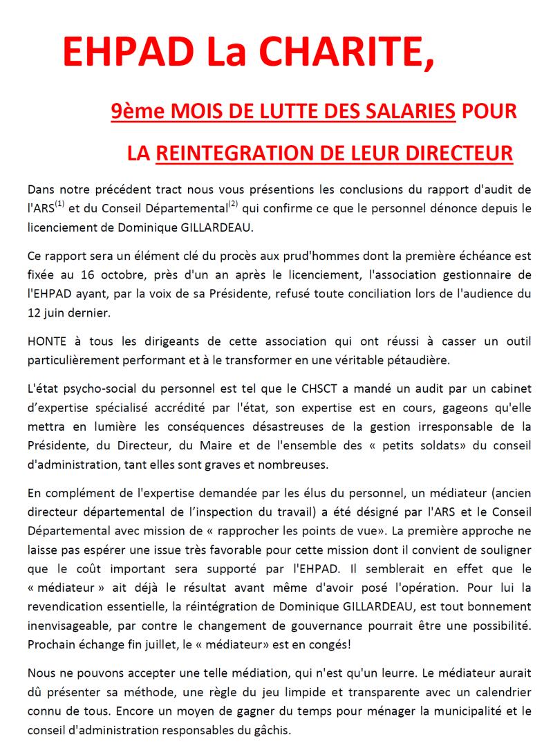 Nouveau coup de thêatre à l'EHPAD de Lavault-Ste-Anne