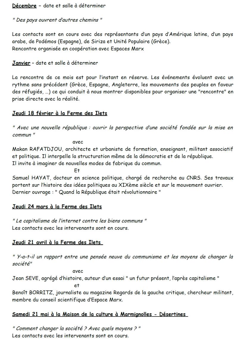 La programmation de l'Atelier de la pensée pour la saison 2015/2016