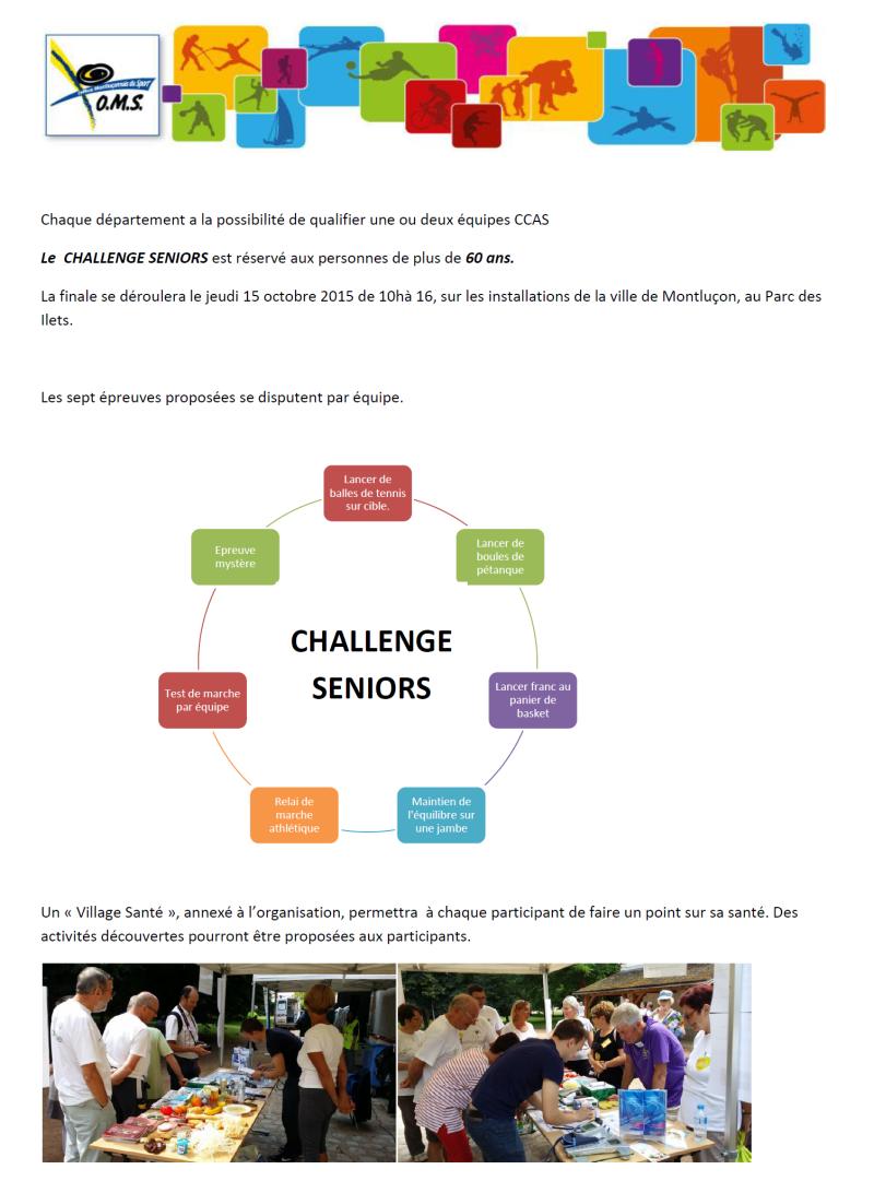 L'organisation du challenge des seniors au parc des Ilets