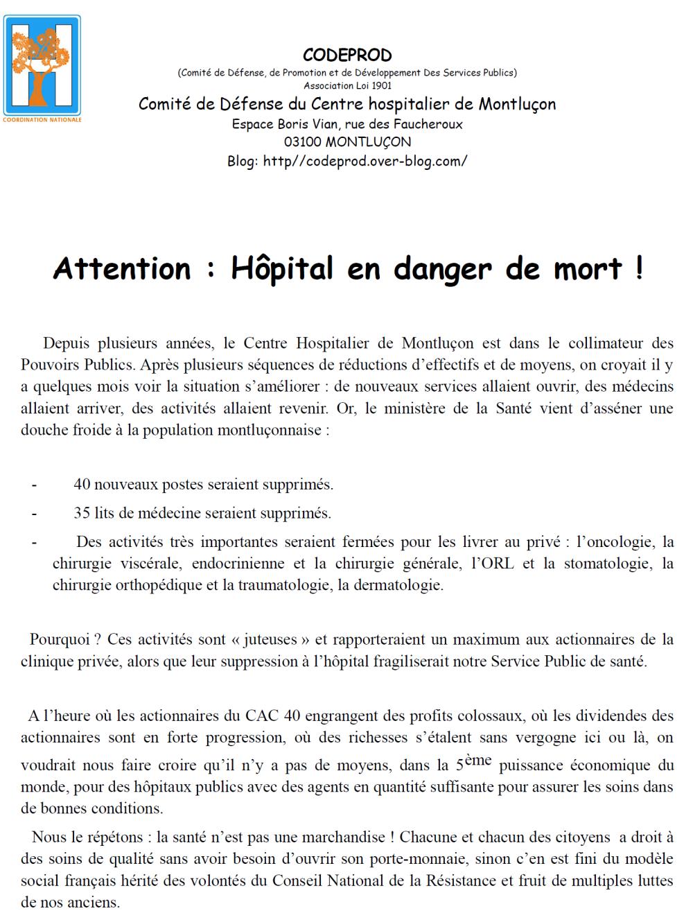 Le Comité de défense de l'hôpital appelle à manifester aux côtés des syndicats