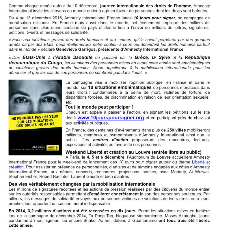 """La campagne d'Amnesty """"dix jours pour signer"""" va bientôt débuter sur Montluçon"""