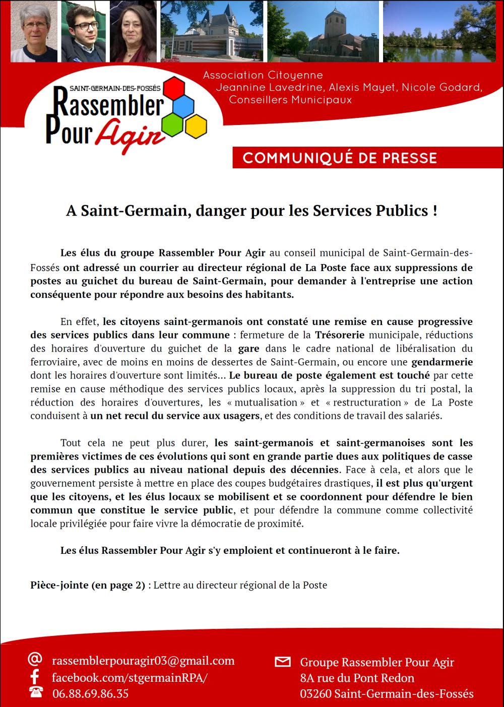 Des élus de St Germain-des-Fossés écrivent au Directeur de la Poste