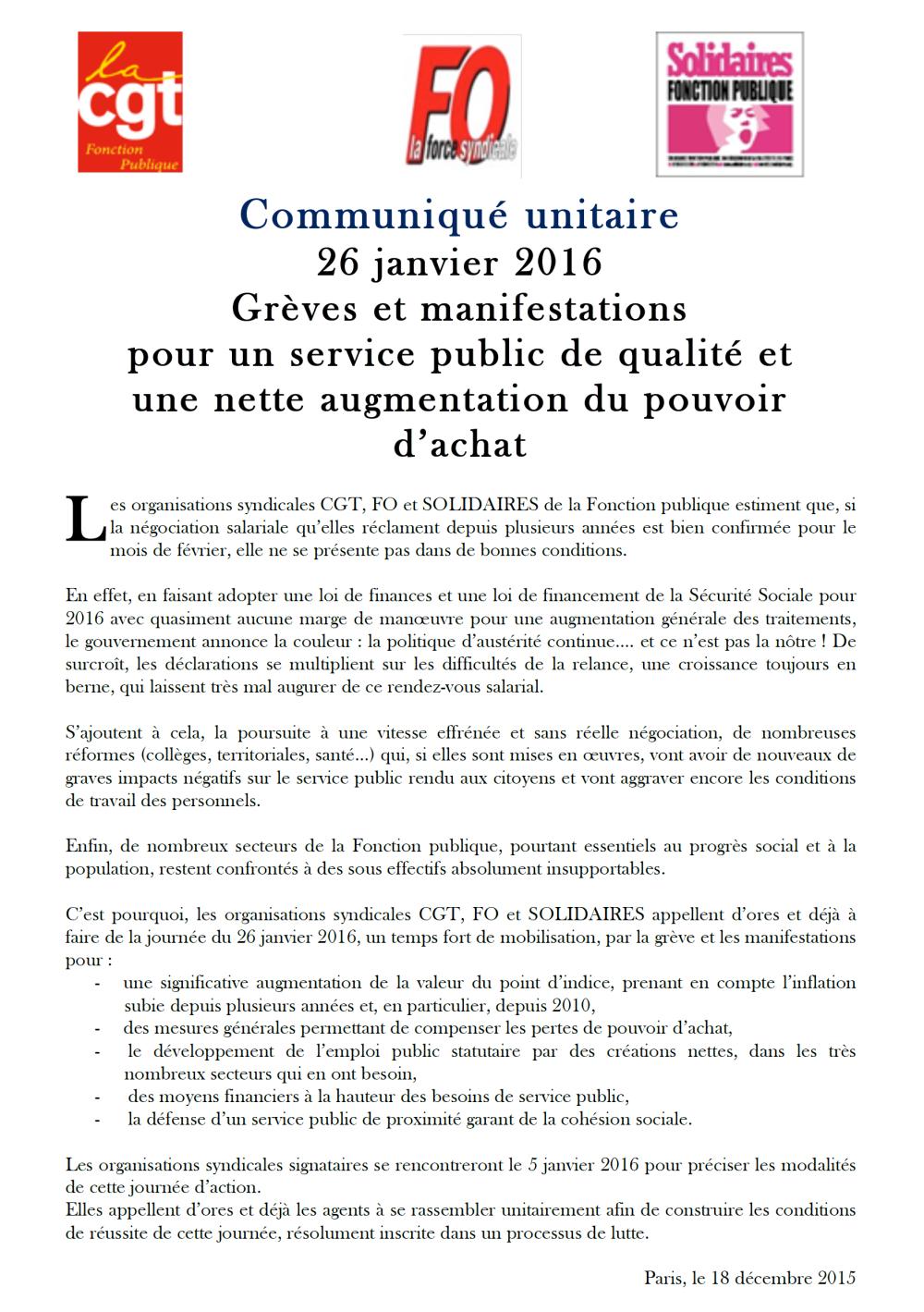 Communiqué national unitaire d'appel à la grève le 26 janvier
