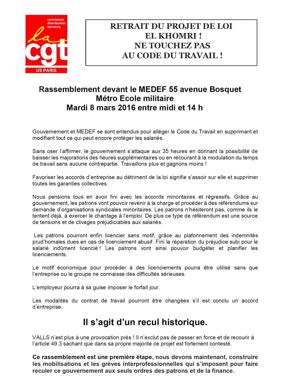 Le tract de la CGT Commerces et services contre la loi El Khomri