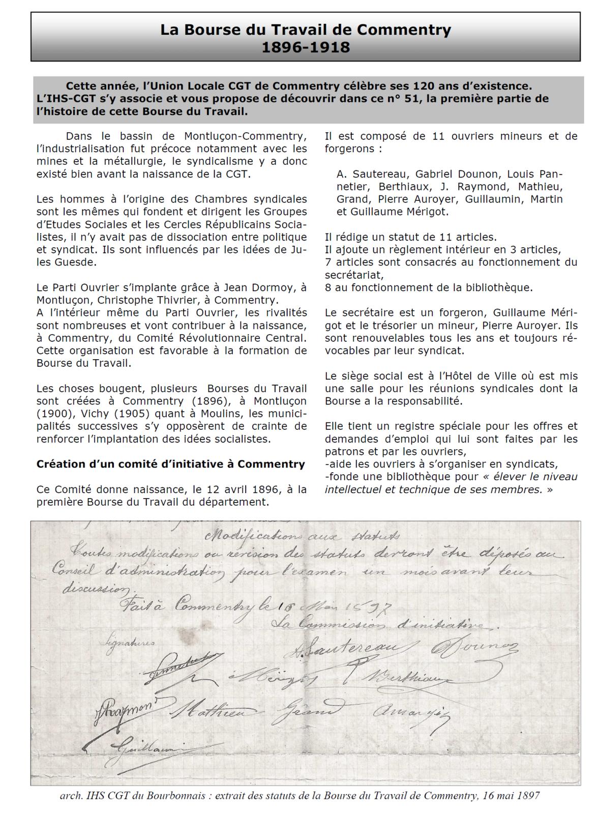 """Le N° 51 du """"cahier du bourbonnais"""" est sorti"""