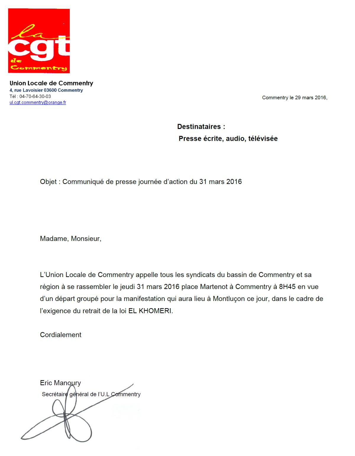 Les syndicats CGT de Commentry viendront groupés à la manifestation du 31 mars sur Montluçon