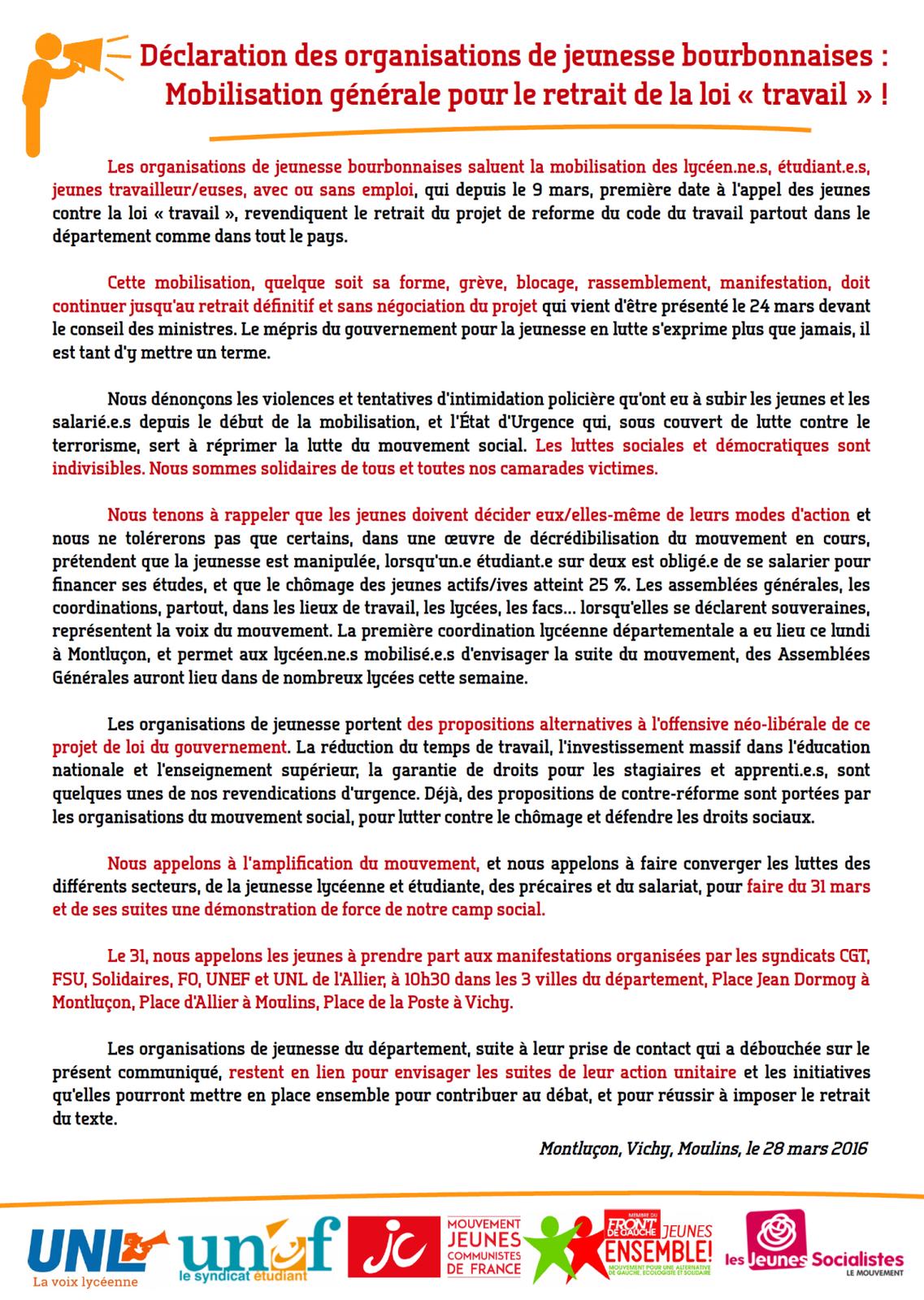Les organisations de la jeunesse de l'Allier se mobilisent contre la loi Travail