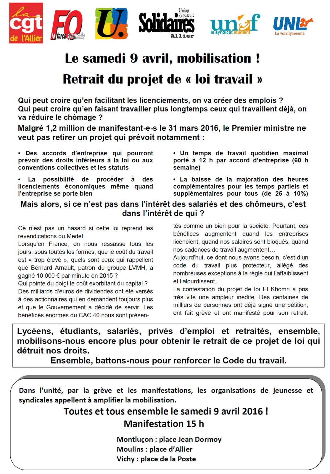 Le tract de l'intersyndical Allier pour la manifestation du 9 avril