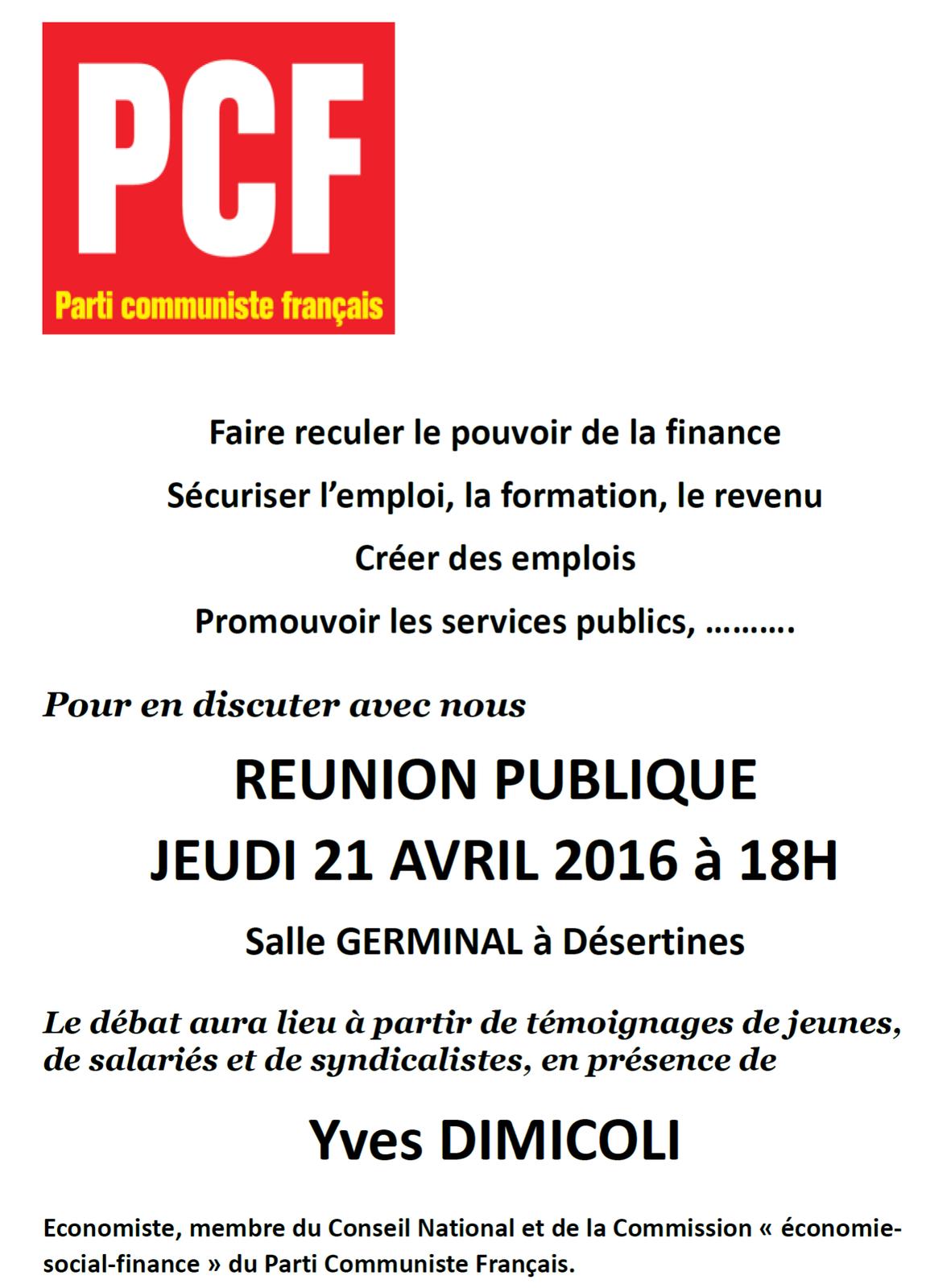 Réunion publique organisée par le PCF à Désertines