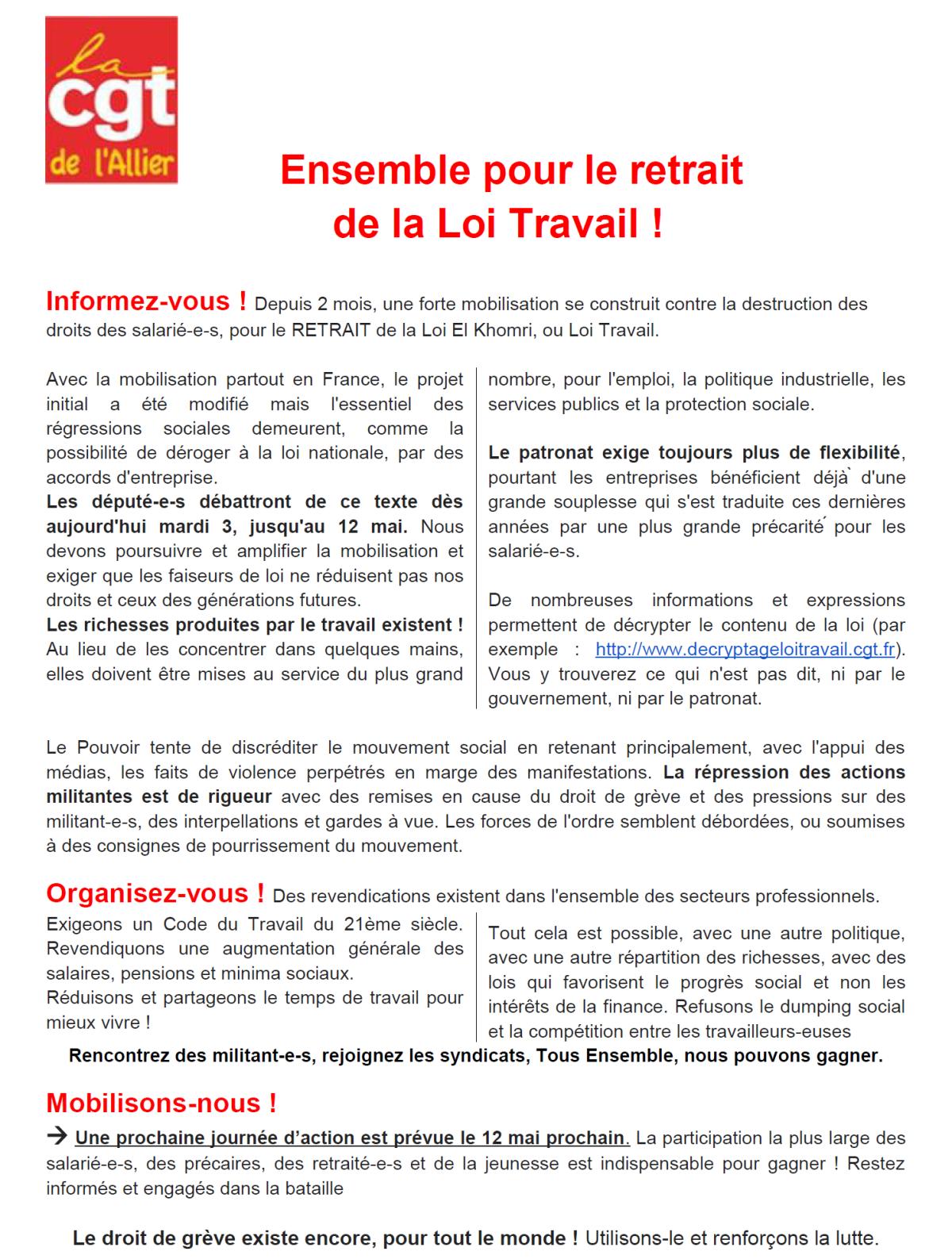 Le tract distribué au péage de Montmarault