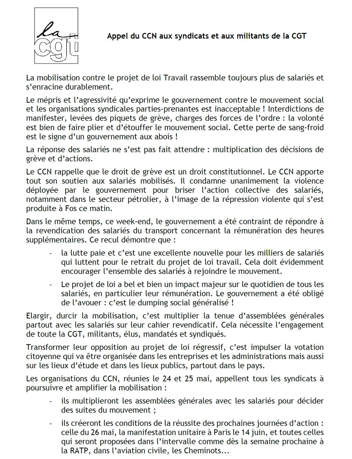 Le comité confédéral national de la CGT appelle à continuer et à amplifier la mobilisation contre la loi Travail