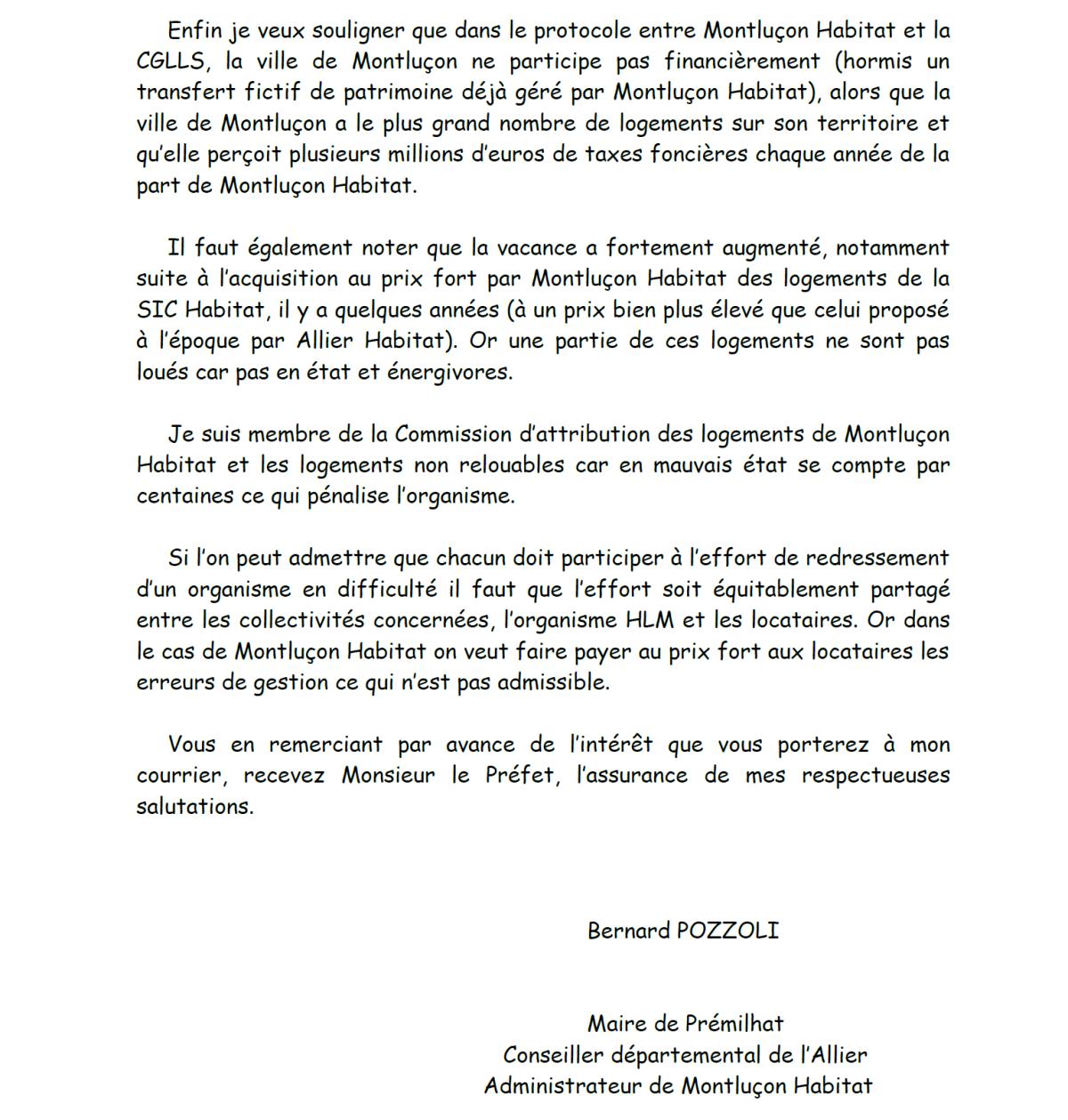 Courrier de Bernard Pozzoli, Maire de Prémilhat et membre du Conseil d'administration de Montluçon Habitat