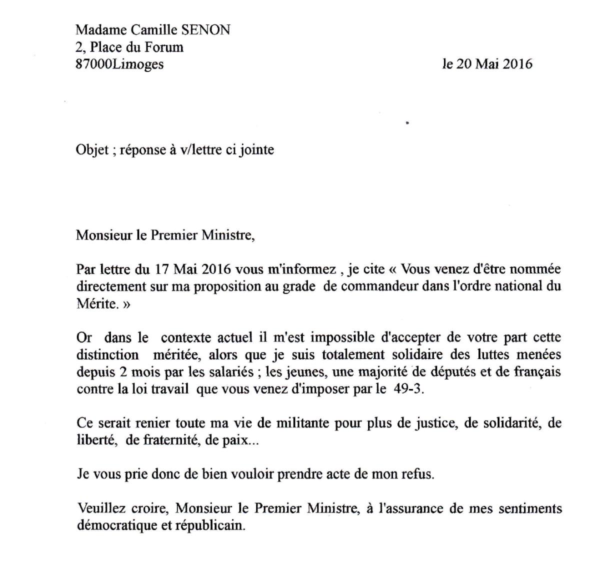 Réponse de Camille Senon
