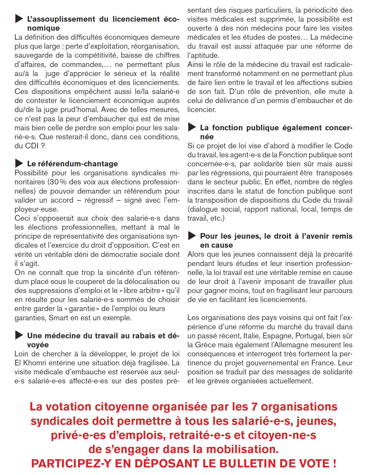 Tract national intersyndical pour la votation citoyenne