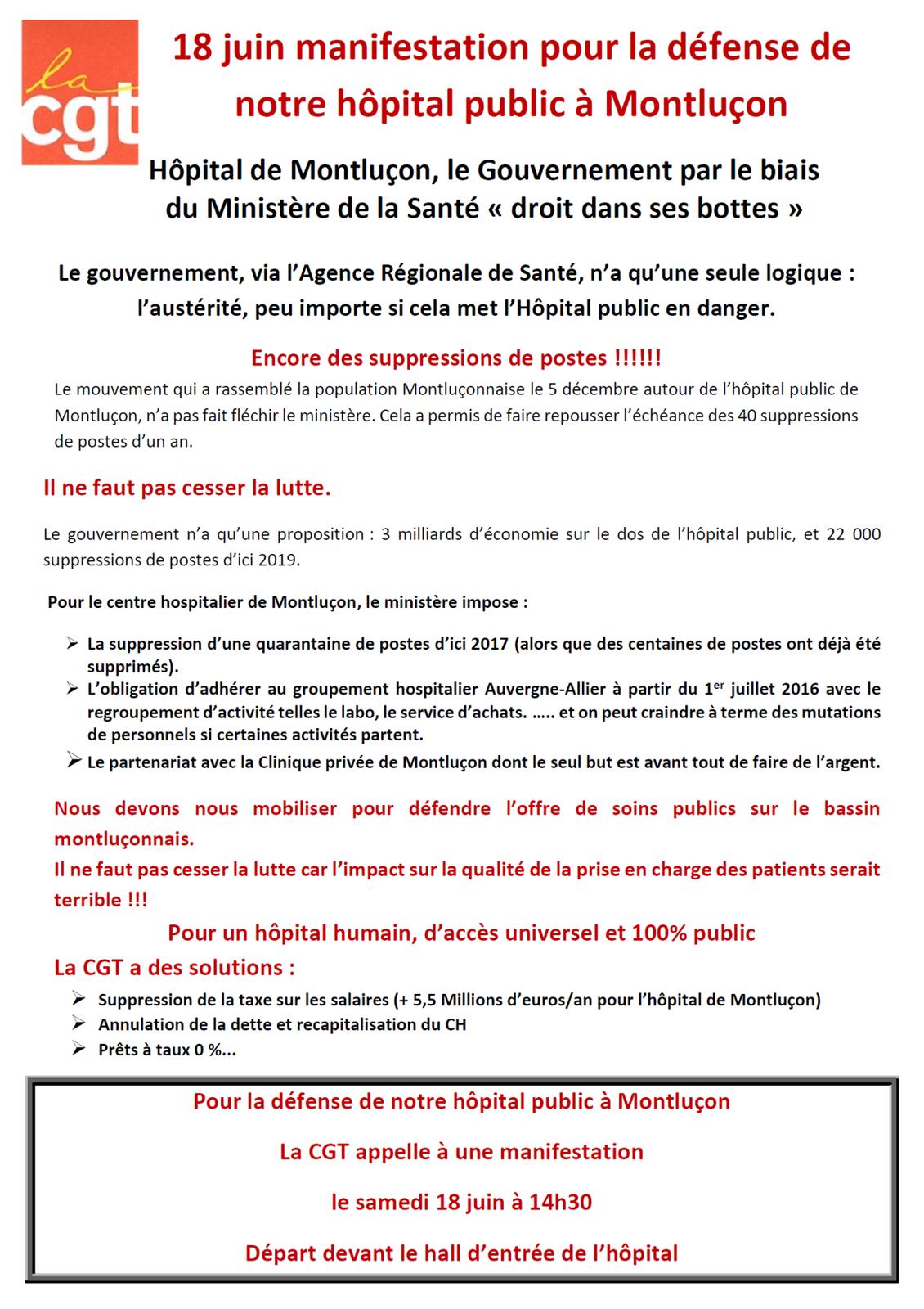 Manifestation en faveur de l'hôpital public le 18 juin à Montluçon