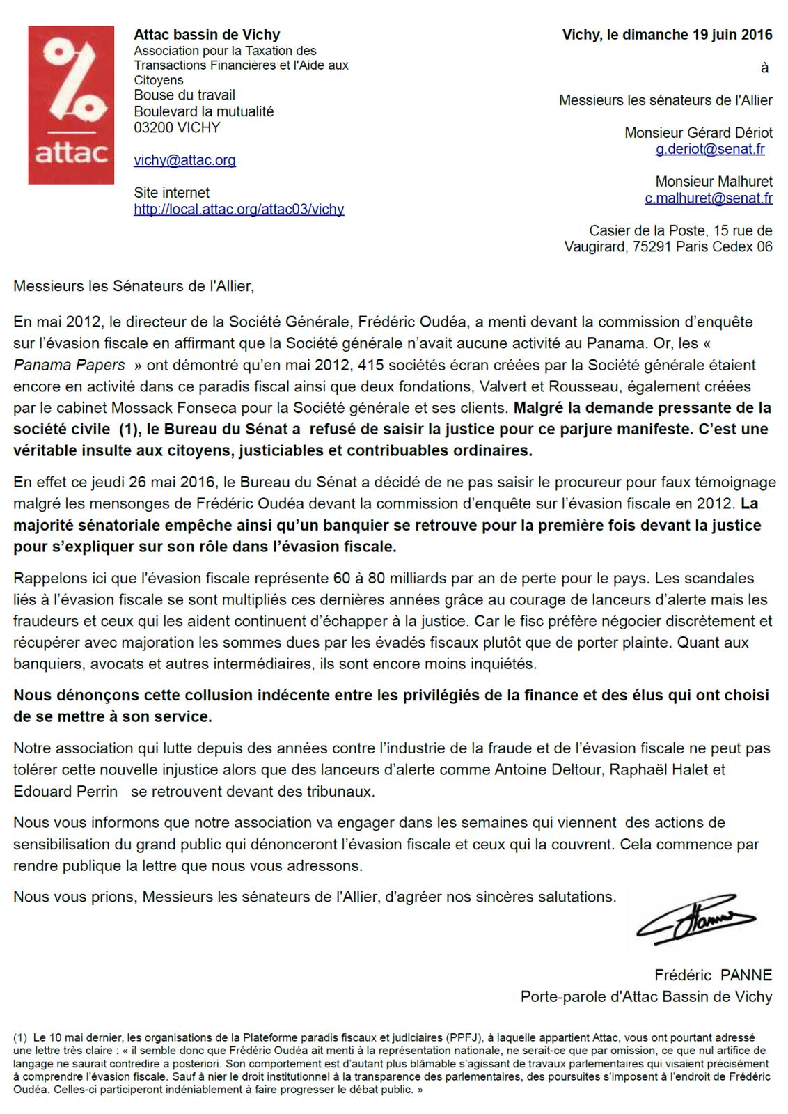 ATTAC Vichy écrit aux sénateurs de l'Allier pour dénoncer l'évasion fiscale